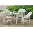 Isabell 5 Piece Dining Set with Sunbrella Cushions Cushion Color: Canvas