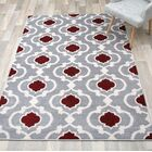 Eric Moroccan Trellis Red/Gray Area Rug Rug Size: Rectangle 9'x 12'