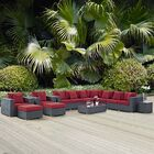 Leda 11 Piece Rattan Sunbrella Sectional Seating Group with Cushions Cushion Color: Red