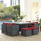 Alaia 9 Piece Rattan Sunbrella Dining Set with Cushions Cushion Color: Red