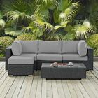 Leda 5 Piece Rattan Sunbrella Sectional Seating Group with Cushions Cushion Color: Gray