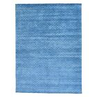 One-of-a-Kind Hamler Modern Oriental Hand-Knotted Silk Blue Area Rug
