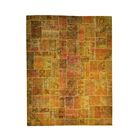 One-of-a-Kind Plumley Overdyed Patchwork Oriental Hand-Knotted Orange/Gold Area Rug