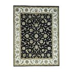 One-of-a-Kind Pedrick Flower Rajasthan Half and Half Hand-Knotted Silk Black Area Rug