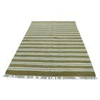 One-of-a-Kind Sherwick Striped Kililm Flat Weave Oriental Hand-Knotted Ivory Area Rug