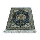 One-of-a-Kind Plemons Tabriz Oriental Hand-Knotted Silk Blue Area Rug