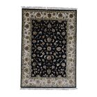 One-of-a-Kind Harman Half and Half Rajasthan Oriental Hand-Knotted Black Area Rug