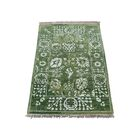 One-of-a-Kind Chirala Tabriz Oriental Hand-Knotted Silk Green Area Rug