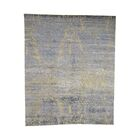 One-of-a-Kind Puryear Abstract Oriental Hand-Knotted Silk Blue Area Rug