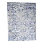 One-of-a-Kind Eveland The Wall Sari with Plum Oriental Hand-Knotted Silk Blue Area Rug