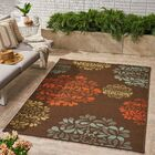 Leday Floral Brown Indoor/Outdoor Area Rug Rug Size: Rectangle 7'10