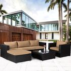 Lamotte 6 Piece Rattan Sectional Set with Cushions