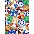 Seaside Parasol Paradise Sand-Multi Hand-Hooked Blue/Brown Indoor/Outdoor Area Rug Rug Size: Rectangle 3'6