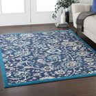 Kent Modern Floral Navy/Teal Area Rug Rug Size: Rectangle 9'3