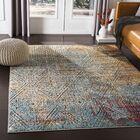 Quinlan Distressed Geometric Saffron/Teal Area Rug Rug Size: Rectangle 3'11