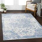 Tybalt Distressed Vintage Blue/Ivory Area Rug Rug Size: Rectangle 5'3