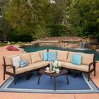 Juno� 7 Piece Rattan Sectional Set with Cushions Frame Finish: Brown, Cushion Color: Tan