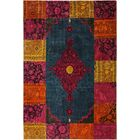 One-of-a-Kind Glendive Patchwork Color Reform Hand-Knotted Wool Green/Magenta Area Rug