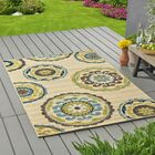 Lecroy Floral Ivory Indoor/Outdoor Area Rug Rug Size: Rectangle 5'3