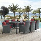 Tripp 9 Piece Dining Set with Sunbrella Cushions Cushion Color: Red