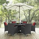 Tripp 8 Piece Dining Set with Sunbrella Cushions and Umbrella Cushion Color: Red