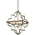 Lotus Arabesque 4-Light Geometric Chandelier Finish: Polished Nickel/White
