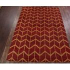 Pearl Gold Moroccan Traditional Oriental Hand-Knotted Wool Red/Burgundy Area Rug Rug Size: Rectangle 9'11