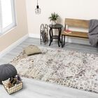 Ted Warm Distressed Jewel Cream/Brown Area Rug Rug Size: Rectangle 5'3
