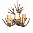 Price Tail 6-Light Shaded Chandelier Shade Color: Parchment, Finish: Black Chain/White Antlers