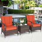Mirabella 3 Piece Rattan 2 Person Seating Group with Cushions Cushion Color: Orange