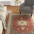 Knighten Classic Medallion Red/Ivory Area Rug Rug Size: Rectangle 7'10