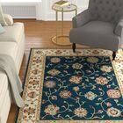 Knighten Borders Navy/Ivory Area Rug Rug Size: Rectangle 7'10