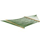 Roe Double Cotton Rope Hammock Color: Green