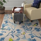 Muhja Hand-Hooked Ivory/Blue Indoor/Outdoor Area Rug Rug Size: Rectangle 8' x 10'