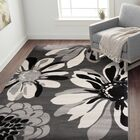 Lorraine Contemporary Flowers Gray Area Rug Rug Size: Rectangle 9' x 12'