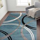 Neal Contemporary Abstract Circles Design Blue Area Rug Rug Size: Rectangle 7'10