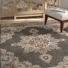 Dutcher Floral Black/Sea Foam Indoor/Outdoor Area Rug Rug Size: Rectangle 6' x 9'