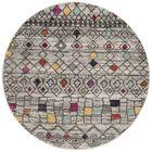 Muniz Light Gray/Fuchsia Area Rug Rug Size: Round 6' x 6'