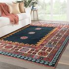 Eldon Border Hand-Knotted Wool Dark Blue/Pink Area Rug Rug Size: Rectangle 6' x 9'