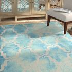 Hand-Tufted Dip Dye Turquoise/Ivory Area Rug Rug Size: Rectangle 3' x 5'