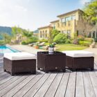 Scarlett Rattan Outdoor Ottoman with Cushions Finish: Brown, Fabric: Creamy White