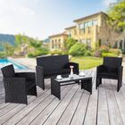 Maya 4 Piece Rattan Sofa Set with Cushions Cushion Color: Black