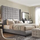 Luxullian Button Tufted Platform Bed Color: Gray, Size: Queen