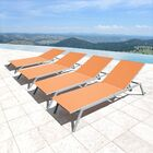 Jeffers Sling Reclining Outdoor Chaise Lounge Color: Orange