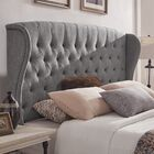 Upholstered Wingback Headboard Size: Full, Color: Gray