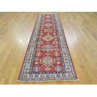 One-of-a-Kind Bellaire Kazak Geometric Design Handwoven Red Wool Area Rug