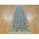 One-of-a-Kind Bear Hand-Knotted Blue Wool/Silk Area Rug