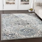 Alley Floral Gray/Teal Area Rug Rug Size: Rectangle3' x 5'