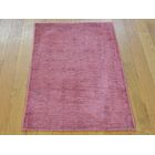 One-of-a-Kind Bean Art Handwoven Pink Silk Area Rug