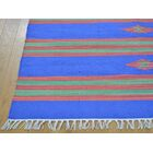 One-of-a-Kind Biggins Kilim Southwestern Design Handwoven Blue Wool Area Rug